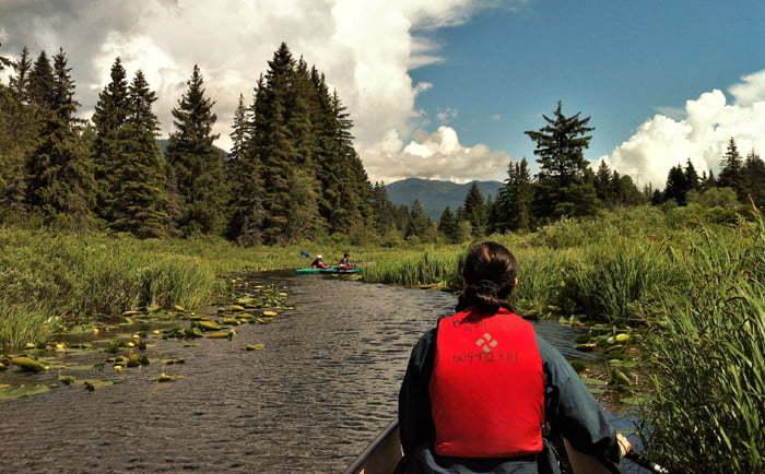 Canot sur la rivière Golden Dreams à Whistler
