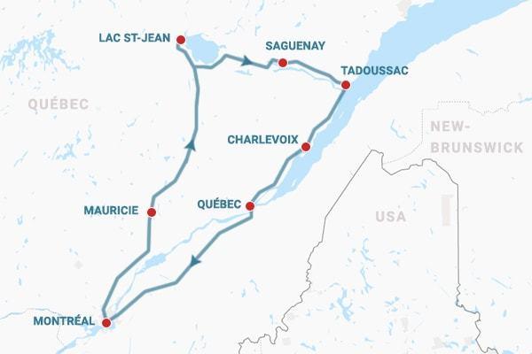 carte itinéraire Le Québec pour la 1ère fois