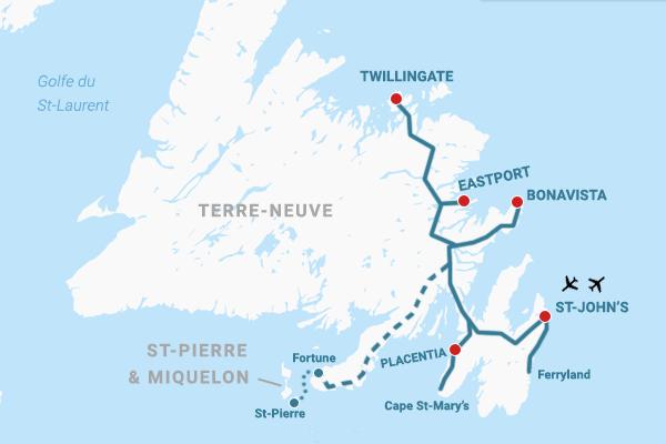 Carte Terre-Neuve & St-Pierre et Miquelon