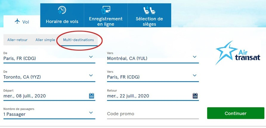 Option multi-destinations sur Air Transat
