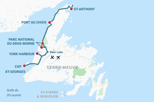 Carte road trip à Terre-Neuve Côte Ouest