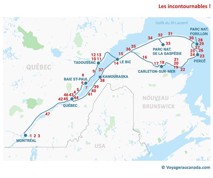 Carte des attraits tour de la Gaspésie