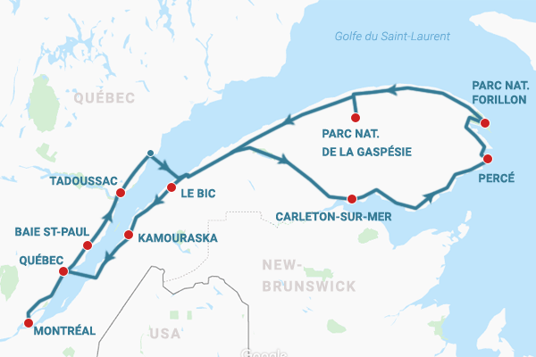 Carte itinéraire tour de la Gaspésie par le sud