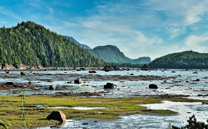 Vue sur le parc national du Bic à marée basse