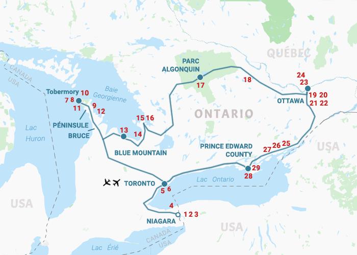 Carte L'Ontario du Lac Huron aux 1000 îles