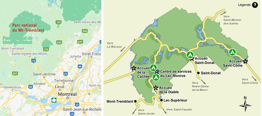 Carte localisation parc national du Mt Tremblant