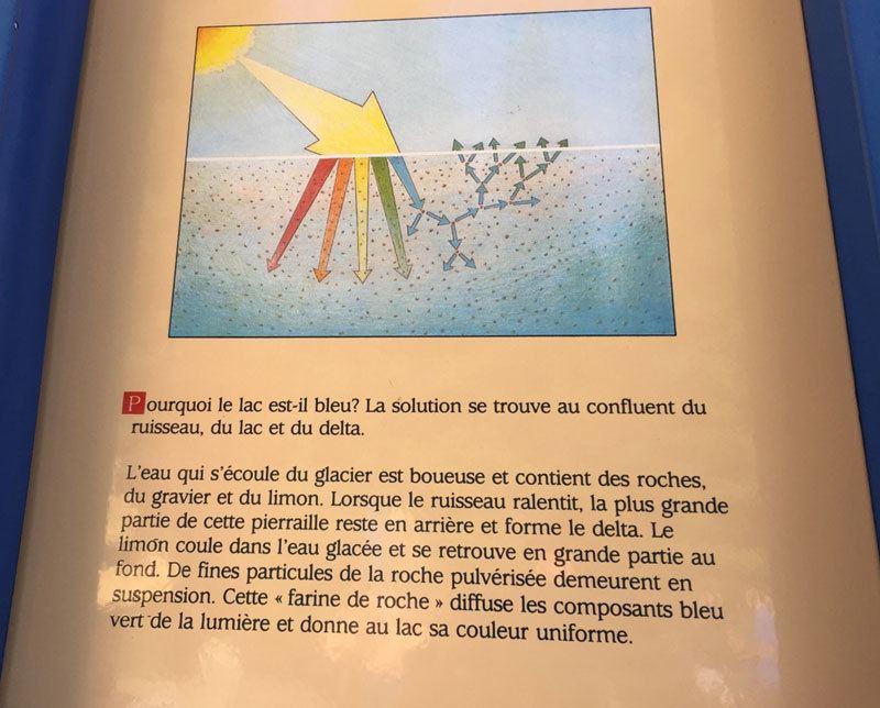 Panneau explicatif de la couleur turquoise des lacs des Rocheuses