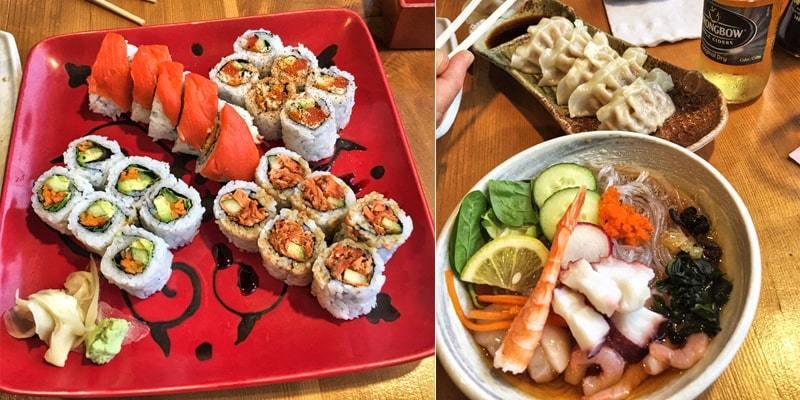Repas de sushis au restaurant Opa à Prince Rupert