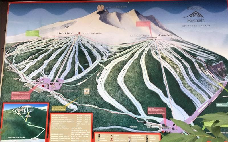 Carte du domaine skiable de la station Hudson Bay Mountain