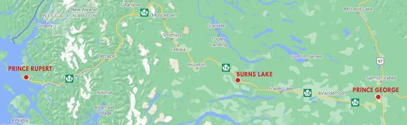 Carte route 16 localisation de Burns Lake