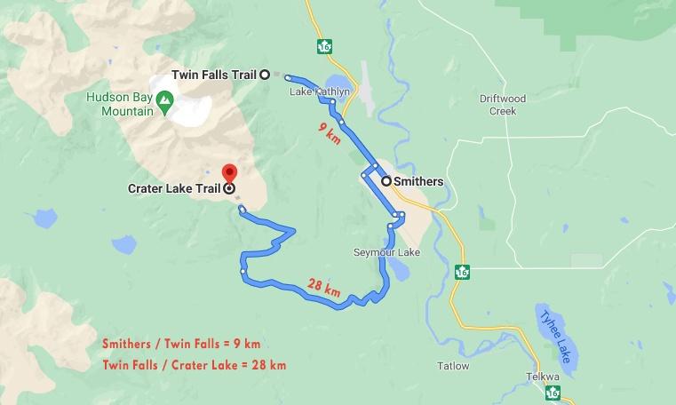 Carte localisation sentier du Crater Lake et les Twin Falls