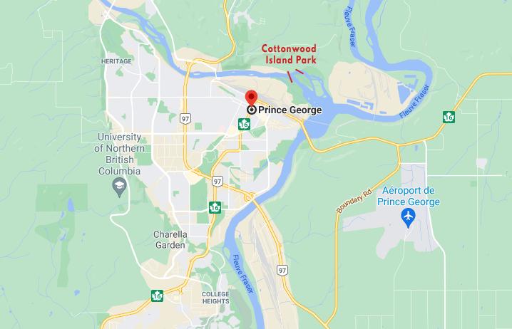 Carte qui localise la ville de Prince George et le parc Cottonwood Island