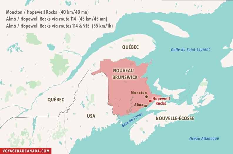 Carte Nouveau-Brunswick avec Hopewell Rocks ell Rocks au Nouveau-Brunswick