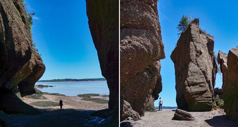 Hopewell Rocks à marée basse entre les rochers